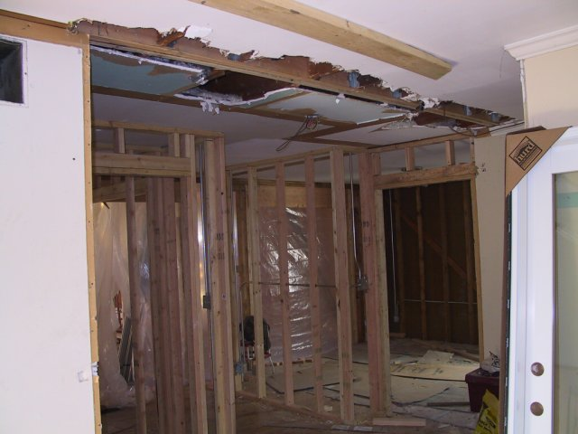 Meanwhile, demolition and reframing is taking place inside the original house... this used to be the entry way and front closet.
