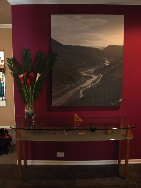 This is a dim photo of the entry way table and photograph.  An art lamp is in plan to improve the view of the print.