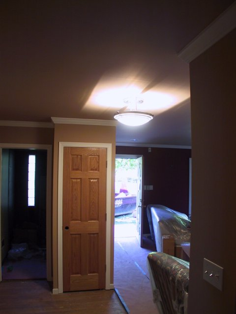 """This photo is a bit washed out, but shows another brushed nickel fixture that hangs on two nickel tubes. It's halogen and provides quite a bit of illumination for the front entryway.  There is a recessed """"can"""" light right behind the front door, and a series of them in the hallway, completing the main traffic pattern illumination."""