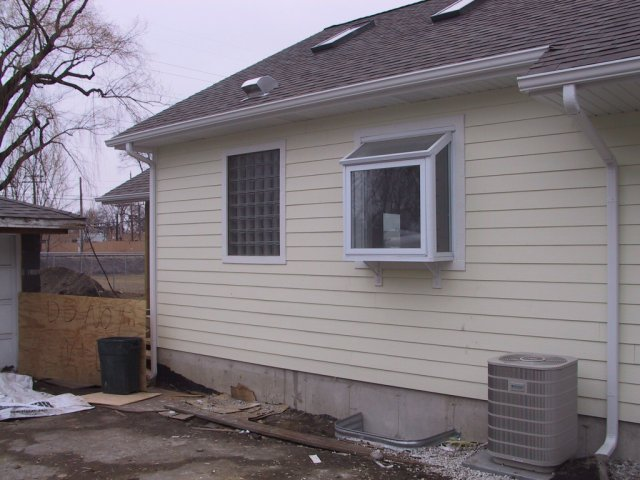 Here are the glass block and garden windows as seen from outside the house.