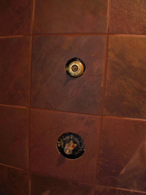 """This is a better shot of the """"house"""" or """"guest"""" bathroom tile in the shower.  It's a slate texture and called """"Indian Red"""""""