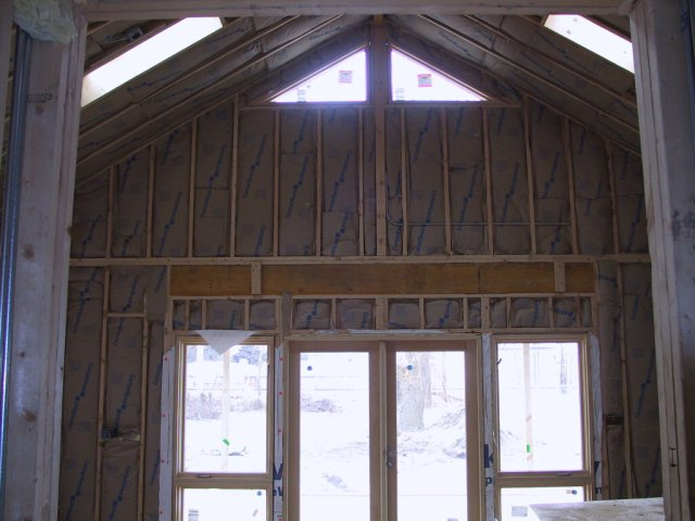 The West wall gets insulation batting.