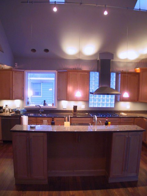 This wide angle shot of the island shows the low voltage rail lighting