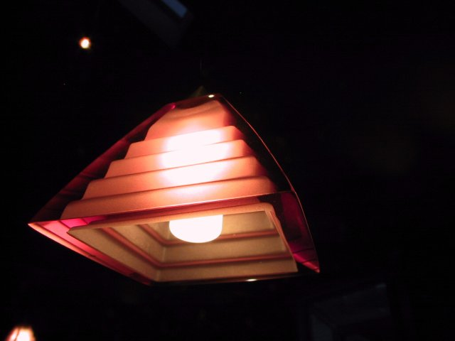 This is a close up shot of one of the pendant lights hung