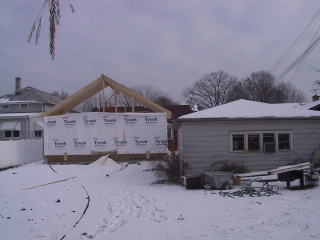 Once the framing begins, things move quickly...at least for a while. This shows the scale of the addition to the 2.5 car garage.