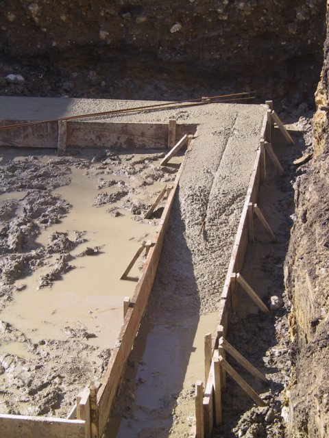 A bit of rebar is added to the footings to improve stability and strength