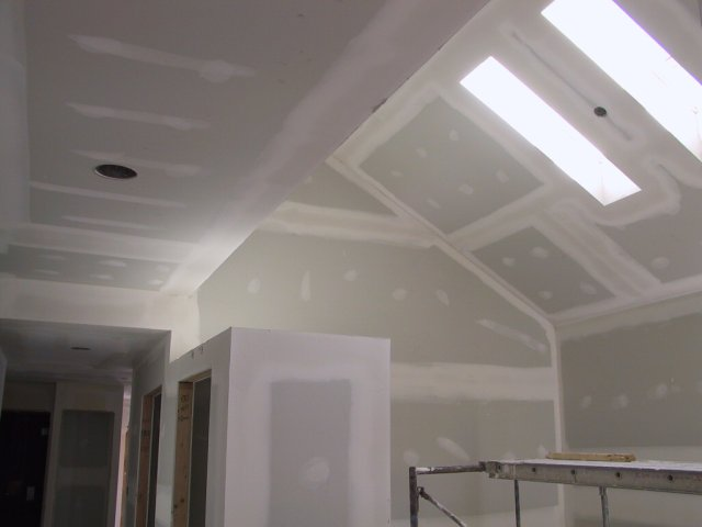 Another view of that ceiling captures the skylights and a bit more detail of the closet and hall ceiling.
