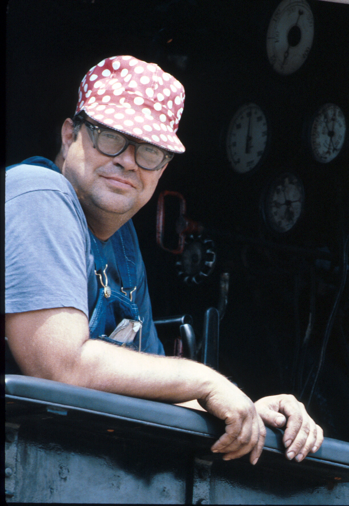 """Ed Beard was one of the IRM's machinists and steam locomotive engineers for a number of years. Here he is sitting """"right seat"""" in SLSF1630.Ektachrome (HS) 35mm film.  Lens probably 100mm or 135mm."""